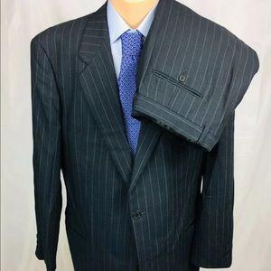 Armani Collezioni Gray Striped 44L Suit 36x32